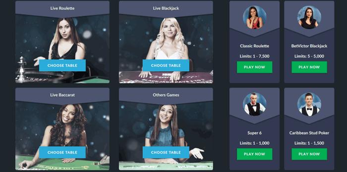 BetVictor Live Casino Screenshot