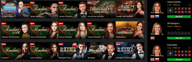 Energy Live Casino Games