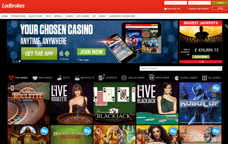 Ladbrokes Casino Screenshot