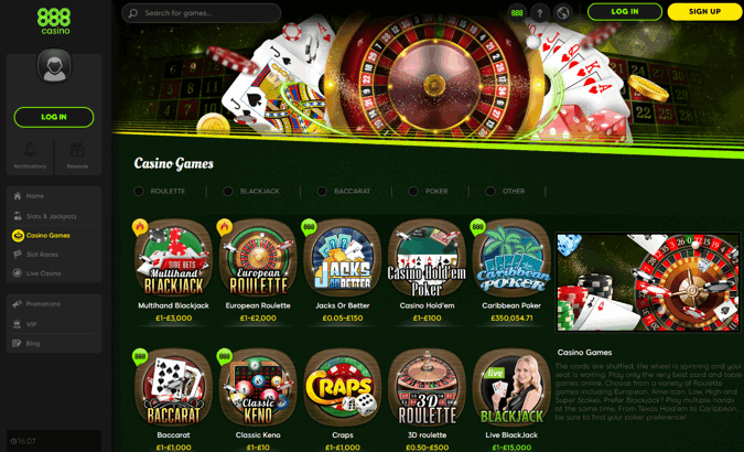 888 Casino Games Screenshot