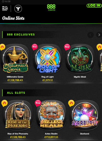 888 Casino Mobile Screenshot