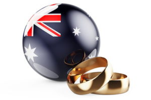 australia flag and wedding rings