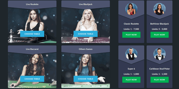BetVictor Live Casino Screenshot