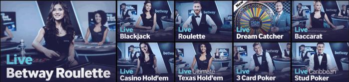 Betway Live Casino Games Screenshot