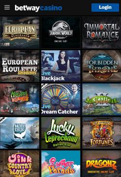 Betway Mobile Casino Screenshot