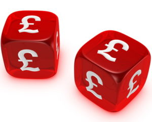dice with uk pound signs