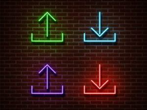 download and upload icons neon lights