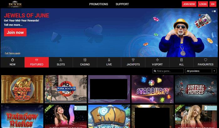 dukes casino screenshot