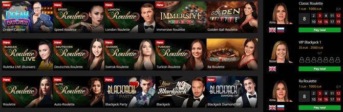 Energy Live Casino Games