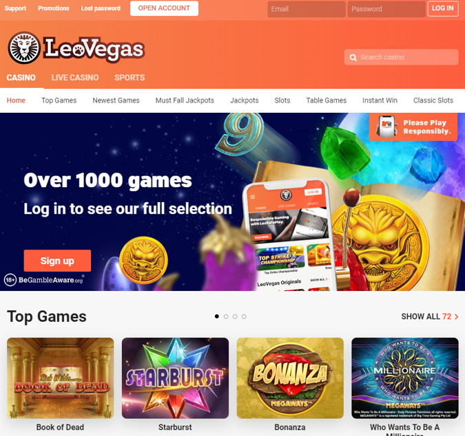 leovegas casino home page