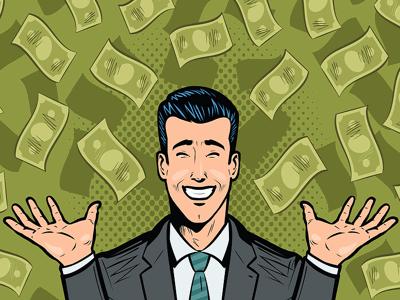 man happy money raining down graphic