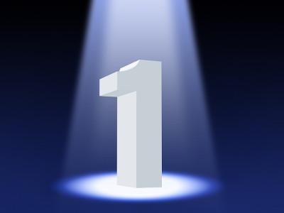 number 1 under spotlight