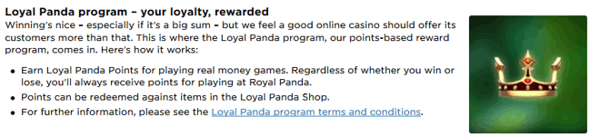 Royal Panda Casino Loyalty Program