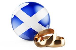 scotland flag and wedding rings