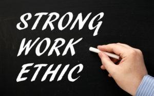 strong work ethic written on blackboard