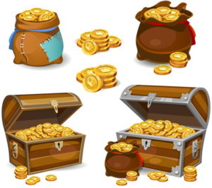 treasure chests filled witth coins