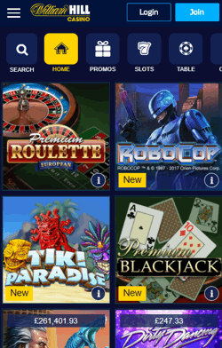 William Hill Mobile Casino Screenshot